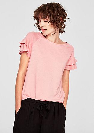 Jersey shirt met volantmouwen