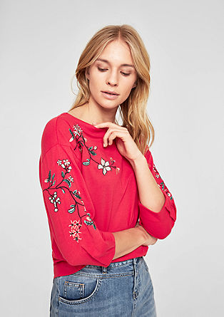 Jerseyshirt mit floralem Embroidery