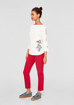 Embroidered long sleeve top with cut-outs from s.Oliver