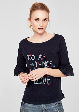 Shirt met 3/4-mouwen en borduursel