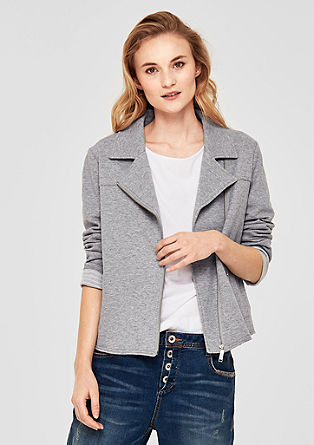 Sweatshirt jacket in a biker style from s.Oliver