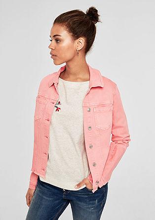 Vyšívaná džínová bunda s třásněmi
