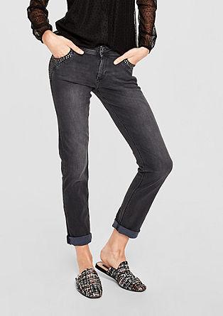 Shape Slim: Stretchige Nieten-Jeans