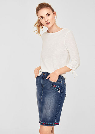 Jeansrock mit Embroidery-Stickerei
