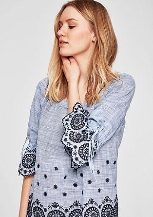 Shirt met opengewerkt borduursel in een boho look