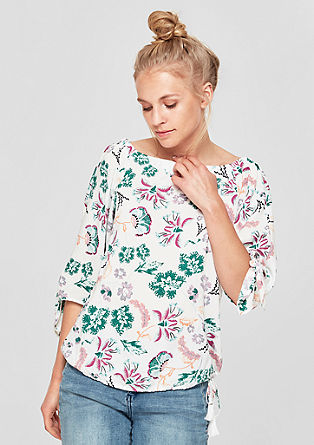 Carmen blouse with a floral print from s.Oliver