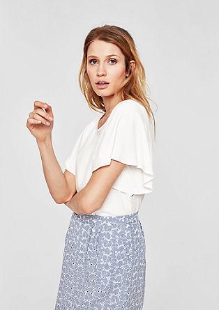 Viscose shirt met volantmouwen