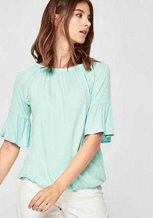 Off-shoulder shirt met volantmouwen