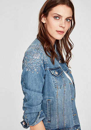 Embroidered denim jacket with a stand-up collar from s.Oliver