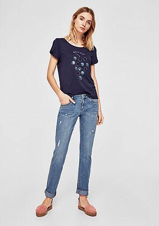 Shape slim: jeans met borduursels