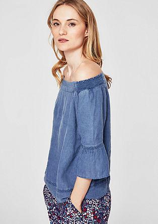 Off Shoulder-Bluse aus Leinen