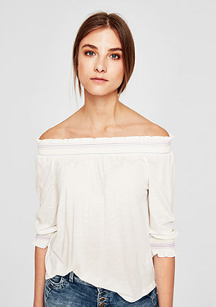 Off-the-shoulder top with ethnic embroidery from s.Oliver