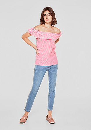 Off-the-shoulder blouse top with texture from s.Oliver
