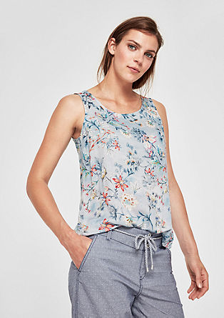 Mouwloze blouse met bloemenprint