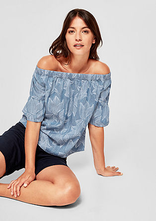 Off Shoulder-Bluse aus Leinenmix