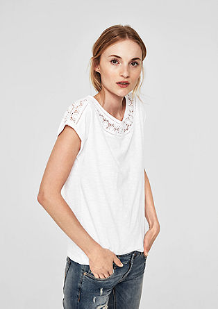 Slub Yarn-Shirt mit Häkelspitze