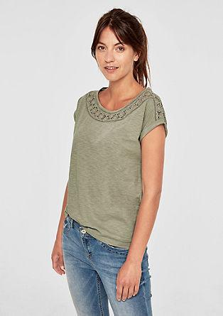 Shirt van slubgaren, met gehaakte kant