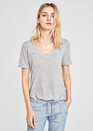 Linen blend top with glitter details from s.Oliver