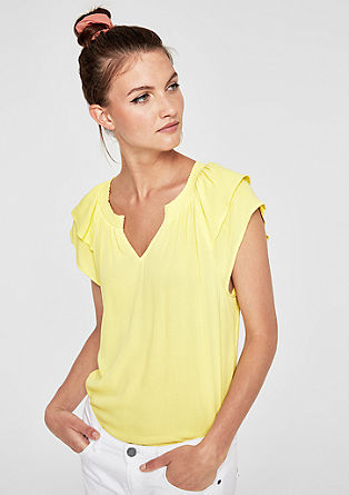 T-shirt with flounce sleeves from s.Oliver