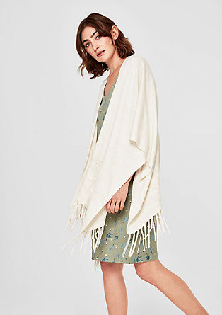 Fine knit poncho with fringing from s.Oliver