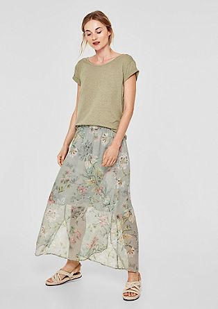 Jupe maxi-longueur à motif floral en mousseline de s.Oliver