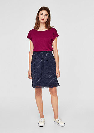 Jersey skirt with a lace border from s.Oliver