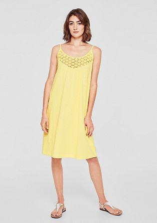 Slub Yarn-Kleid mit Spitze