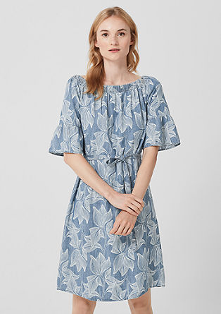 Off Shoulder-Kleid aus Leinen-Mix