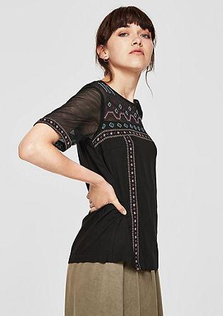 Blusenshirt mit Ethno-Stitchings