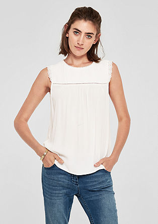 Elegant crêpe blouse top with lace from s.Oliver