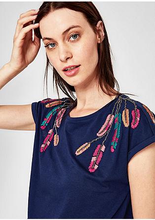 T-shirt met artwork van veren