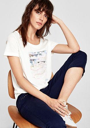 Artwork-Shirt mit Pailletten und Spitze