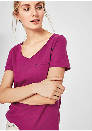 Slub Yarn-Shirt mit V-Neck