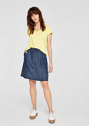 Denim skirt with a patterned border from s.Oliver
