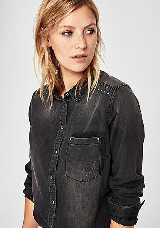 Graue Jeansbluse im Used-Look