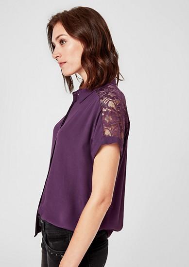 Viscose blouse met kanten inzet