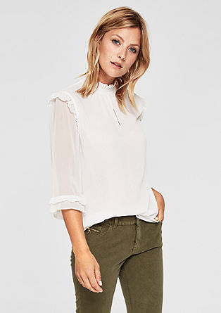 High-neck blouse with ruffles from s.Oliver