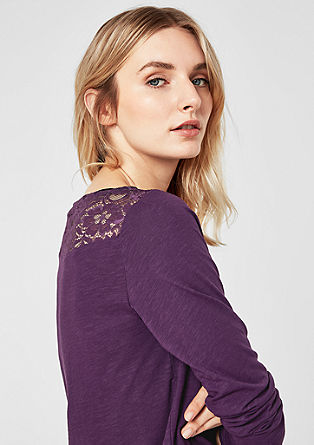 Long sleeve top with lace yoke from s.Oliver