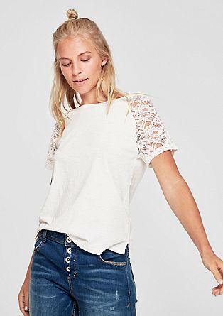 T-shirt met transparante kant