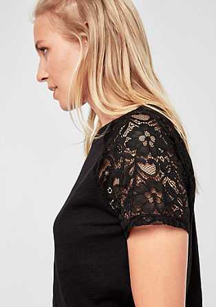 T-shirt with sheer lace from s.Oliver