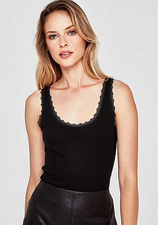 Ribbed tank top with lace from s.Oliver
