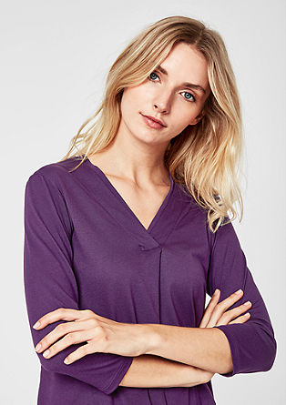 Shirt with double-layer neckline from s.Oliver