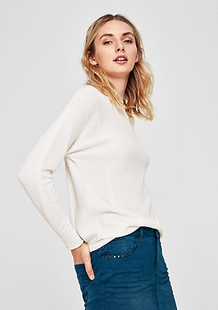 Batwing sleeve jumper in a mix of textures from s.Oliver