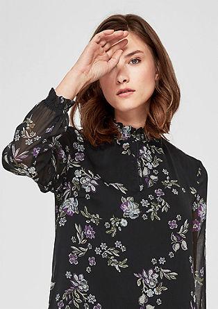 Obleka iz šifona z naborkom