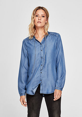 High Neck-Bluse aus Lyocell-Denim