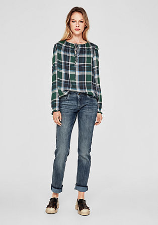Flannel blouse with a round neckline from s.Oliver