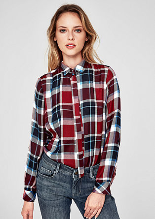 Flannel shirt blouse with a pussycat bow from s.Oliver