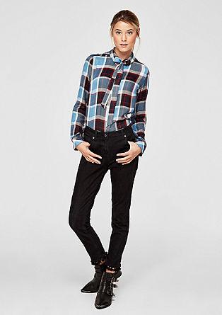 Flanellen blouse in overhemdstijl, met striklint