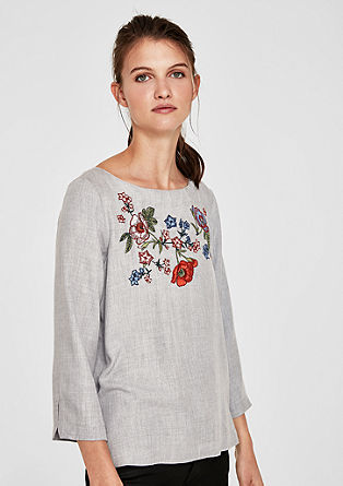 Twillbluse mit Embroidery