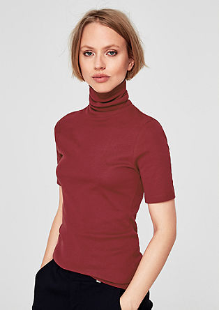 Slim ribbed top with a polo neck from s.Oliver